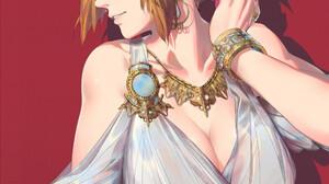 Anime Anime Girls Women Blonde Face Looking Away Profile Necklace Bracelets Dress White Dress Red Ba 1000x1333 Wallpaper