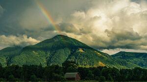 Barn Cloud Forest Mountain Rainbow 5001x3334 Wallpaper