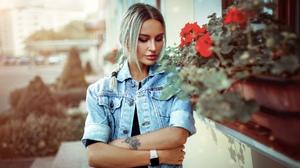 Women Blonde Inked Girls Denim Portrait Arms Crossed Jeans Jacket Braids 2000x1029 Wallpaper