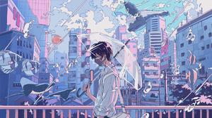Anime Boys Original Characters Umbrella Anime City Fish 1909x1076 Wallpaper