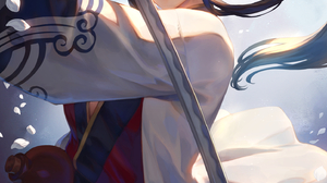 Anime Anime Girls Digital Art Artwork 2D Portrait Display Vertical Mashu 003 Dark Hair Ponytail Blue 1447x2047 Wallpaper