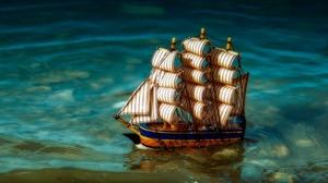 Water Ship Rigging Ship Toys Sailing Ship Miniatures 2048x1152 wallpaper