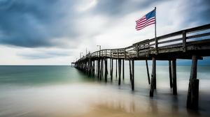 American Flag Horizon Ocean Pier 2048x1367 Wallpaper