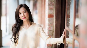 Asian Black Hair Depth Of Field Girl Lipstick Long Hair Model Woman 4500x3002 Wallpaper