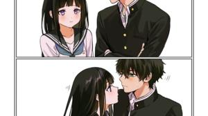Hyouka JK School Uniform Anime Girls Anime Boys Long Hair Short Hair Black Hair Brunette High Angle  1113x1934 Wallpaper
