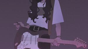 Simple Background Guitar Women Looking At Viewer Drawing Wavy Hair Artwork Digital Painting 1500x1729 Wallpaper