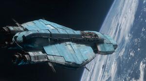 Pablo Dominguez Digital Art Spaceship Vehicle Science Fiction Planet 3400x1700 Wallpaper