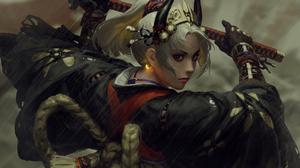 Artwork Fantasy Art Women Sword GUWEiZ 7229x5137 wallpaper