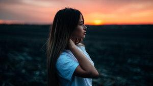 Girl Portrait Profile Sunset 2048x1367 Wallpaper