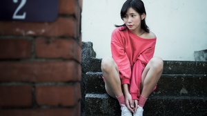 Asian Women Model Stairs Bricks Numbers Legs Dark Hair Looking Away 2045x1361 Wallpaper
