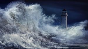 Lighthouse Storm Wave 2048x1189 wallpaper