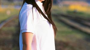 Women Actress Singer Women Outdoors Japanese Women Asian Railway Long Hair 1093x1500 Wallpaper