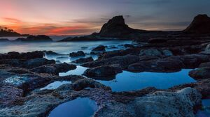 Rock Pool Sunset 4096x2160 wallpaper