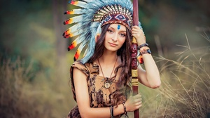 Asian Brown Eyes Brunette Depth Of Field Feather Girl Headdress Long Hair Model Native American Woma 2000x1334 wallpaper
