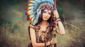 Asian Brown Eyes Brunette Depth Of Field Feather Girl Headdress Long Hair Model Native American Woma 2000x1334 Wallpaper