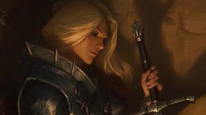 XiaoGuang Sun ArtStation Artwork Fantasy Art Fantasy Girl Blonde Face Sword Weapon Girls With Swords 1920x1047 Wallpaper