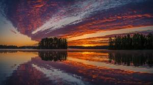 Cloud Lake Nature Reflection Sky Sunset Tree 2048x1119 Wallpaper
