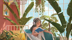 Olga Orlova Digital Art Cats Plants Houseplant Book In Hand Tea Coffee 1285x1800 Wallpaper