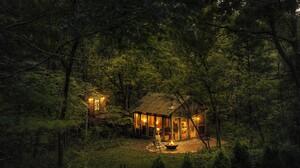 Cabin Forest Green Light Night Wood 2158x1439 Wallpaper