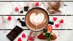 Cup Drink Still Life Chocolate Heart Shaped 3693x2769 wallpaper