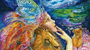 Artistic Butterfly Colorful Fantasy Girl Lion Mystical Painting 2000x1600 wallpaper
