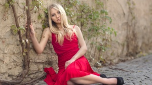 Blonde Blue Eyes Girl Model Red Dress Woman 2560x1675 Wallpaper