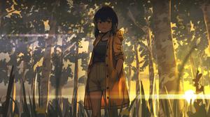 Short Hair Anime Raincoat Anime Girls Trees Hoplitx 3800x1629 Wallpaper