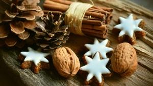 Christmas Cinnamon Cookie Nut Star Wood 6000x3581 Wallpaper