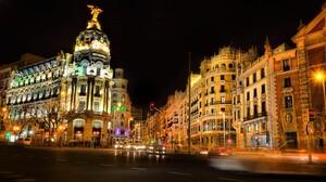 Architecture Building City Cityscape Evening Light Madrid Night Spain 1920x1080 Wallpaper