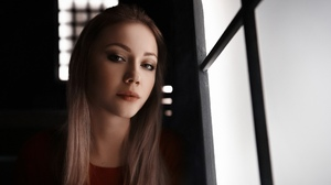 Irina Murchik Women Model Brunette Looking At Viewer Portrait Face Depth Of Field Brown Eyes Dark Iv 2560x1708 wallpaper