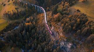 Train Aerial View Switzerland Bridge 5464x3640 wallpaper