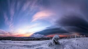 Earth Field Sky Snow Sunset Winter 2047x1155 Wallpaper