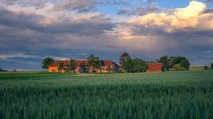 Field Summer Sky Cloud House 3840x2160 Wallpaper