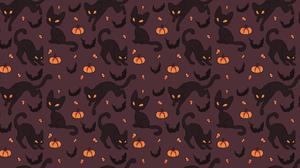 Pumpkin Cat Bat 2000x1000 Wallpaper