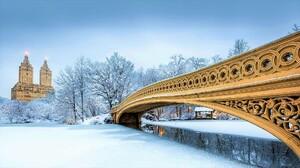 Bow Bridge Bridge Central Park New York Snow Winter 1920x1080 wallpaper