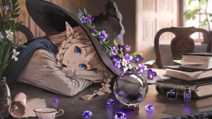 Sunako Anime Anime Girls Original Characters Witch Witch Hat Flowers Desk Books Blue Eyes Blonde Elv 1761x1253 wallpaper