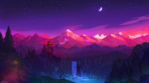 Firewatch Mountains Forest Waterfall Tower Moon Stars Stream Digital RmRadev 3840x2160 Wallpaper