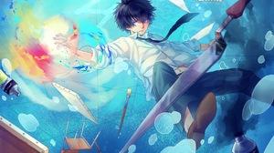 Blue Eyes Blue Hair Boy Man Tie Underwater Water 1705x1200 Wallpaper