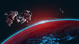 Steam Valve Astronaut Chess 3440x1440 Wallpaper