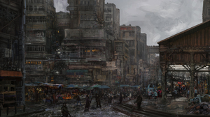 Digital Futuristic City Broken Rain Trash Pollution Crow 1920x1080 Wallpaper