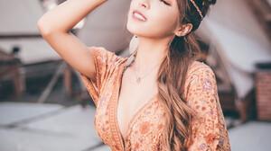 Women Outdoors Women Outdoors Closed Eyes Asian Model Dress Orange Dress Dyed Hair Standing Necklace 1365x2048 Wallpaper