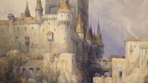 Artwork Painting Medieval Castle Architecture Watercolor 2549x3999 Wallpaper
