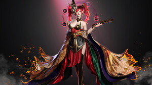 Qingze Zhao CGi Women Looking Away Looking At The Side Dress 3D Mist Artwork Redhead Pointed Ears Op 3840x2848 Wallpaper