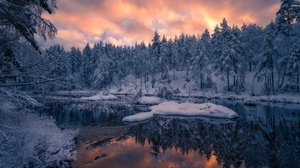 Nature Reflection Snow Forest River 2048x1367 Wallpaper