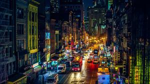 Building Car Chinatown City Light Manhattan New York Night Street 2048x1367 Wallpaper