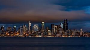 Building City Night Seattle Skyscraper Usa 2048x1152 Wallpaper