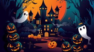 Pumpkin Ghost Bats Halloween 2500x1600 Wallpaper