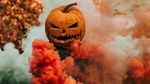 Halloween Pumpkin Smoke Orange Ultrawide 3440x1440 wallpaper