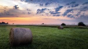 Field Haystacks Plants Outdoors Sky Sunlight Horizon Mist Grass 3840x2160 Wallpaper