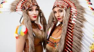 Feather Girl Headdress Lipstick Native American Woman 2560x1707 Wallpaper